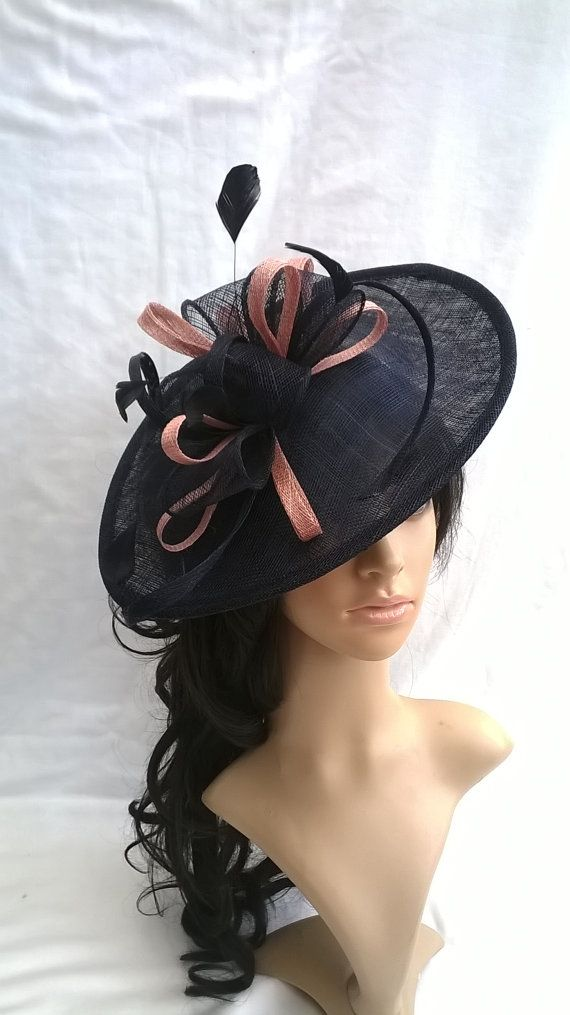 Stunning Navy   Blush pink Sinamay Shaped disc Fascinator with double  swirls  0f716d996b4