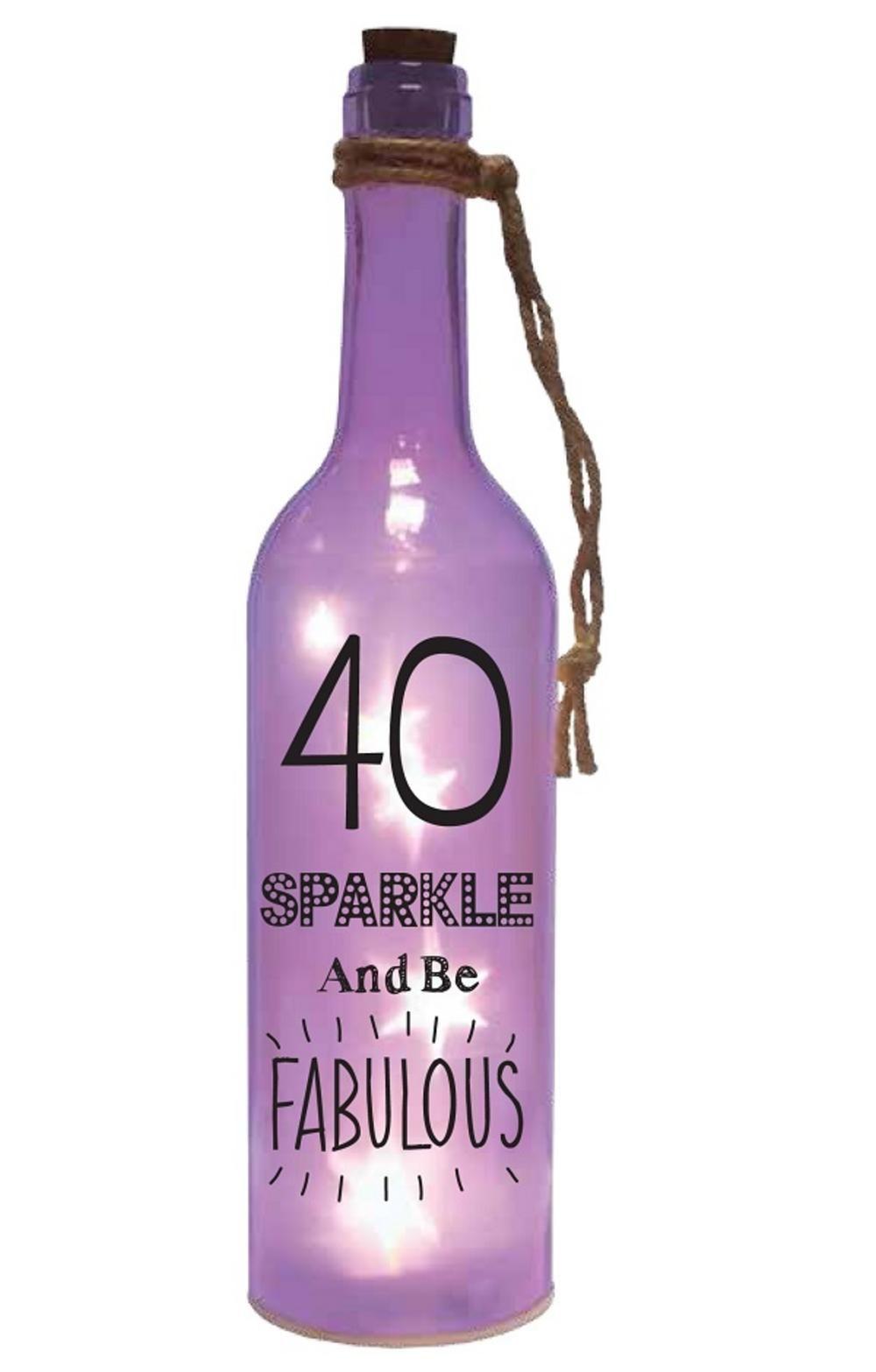 40th Birthday Starlight Bottle Pink Glass Light Up Sentimental Message Bottles