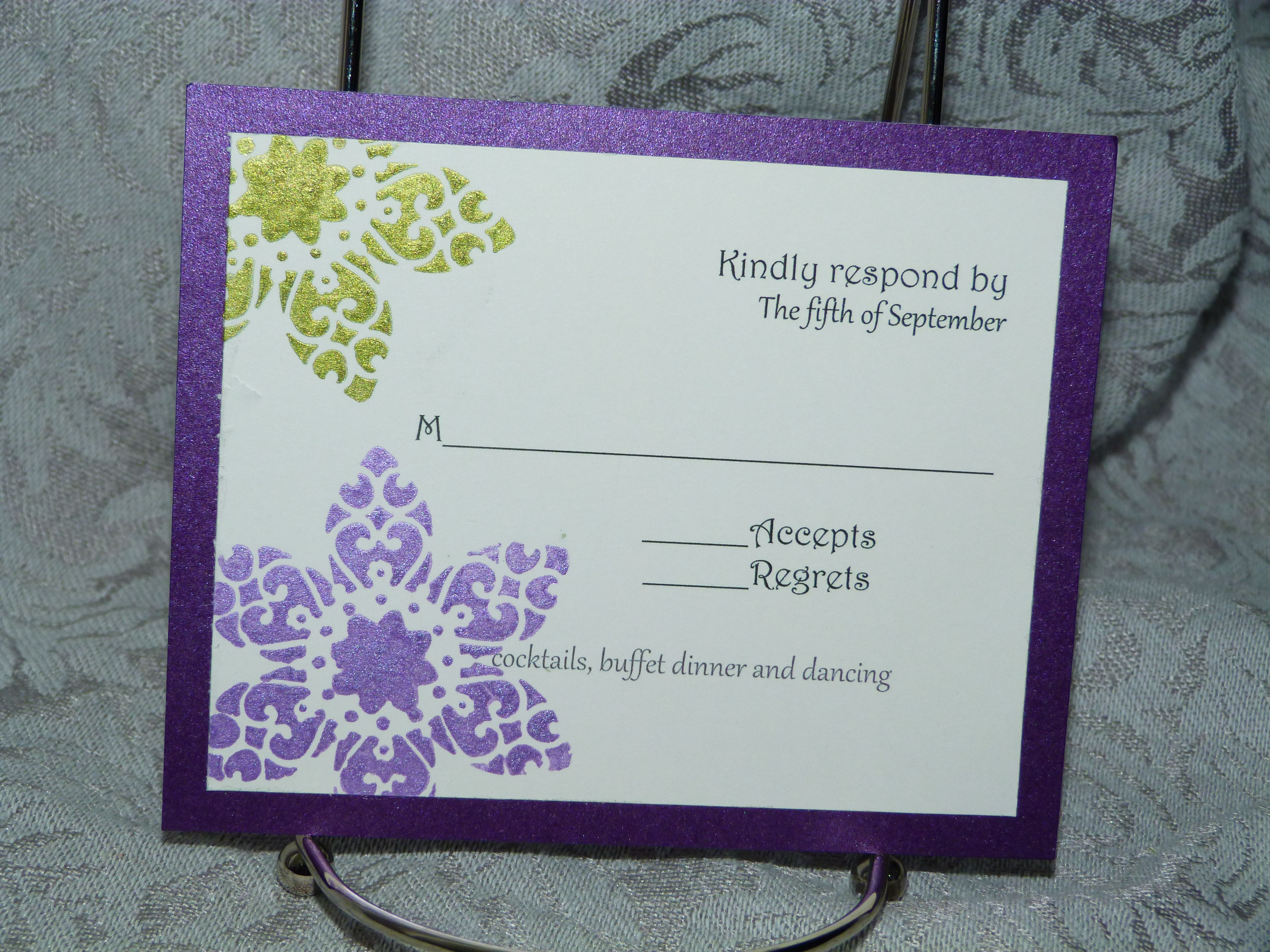 Colored card stock and envelopes - Response Card Hand Stamped Back On Purple Pearl Card Stock Measures 3 5 X5