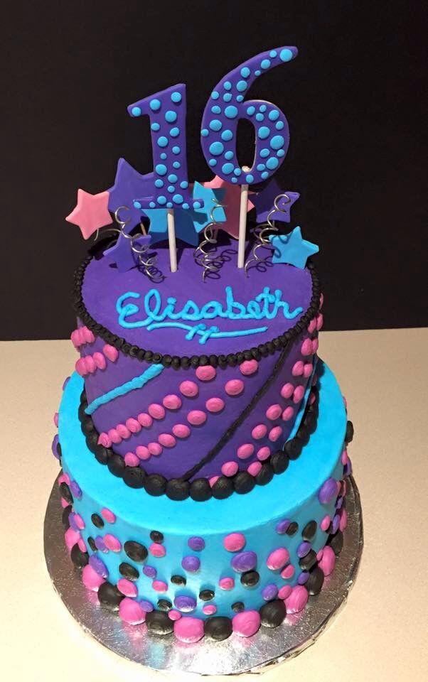 Sweet 16 Birthday Cake By Lyssas Bakery Stars Pink Blue Purple