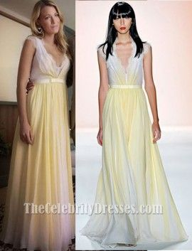 b02d8b6da Blake Lively Yellow Chiffon Lace Prom Dress Gossip Girl Season 6 Fashion