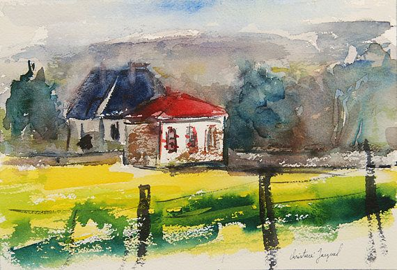 Original Watercolor Of Houses In The Countryside In France