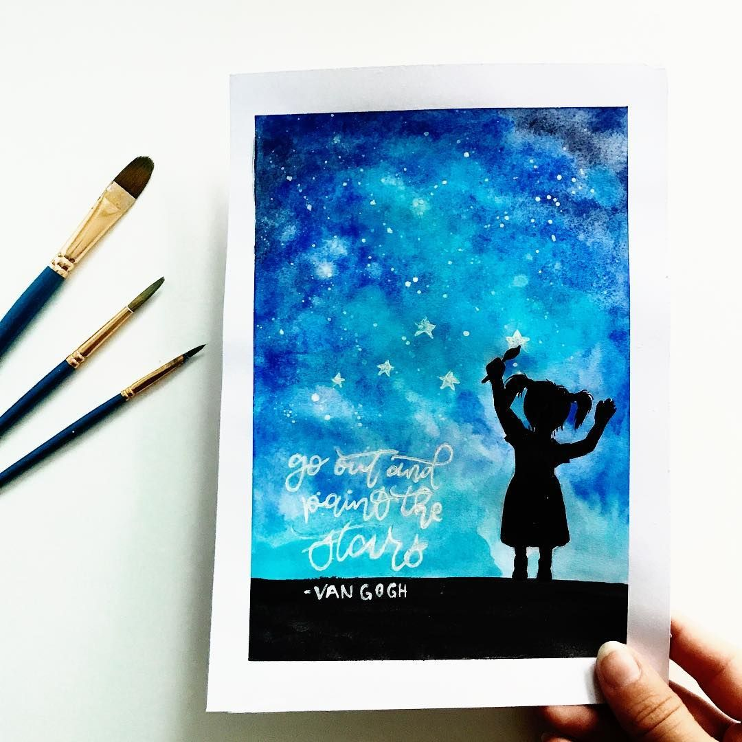 Aquarelle Sky Watercolor Stars Little Girl Drawing Painting Art
