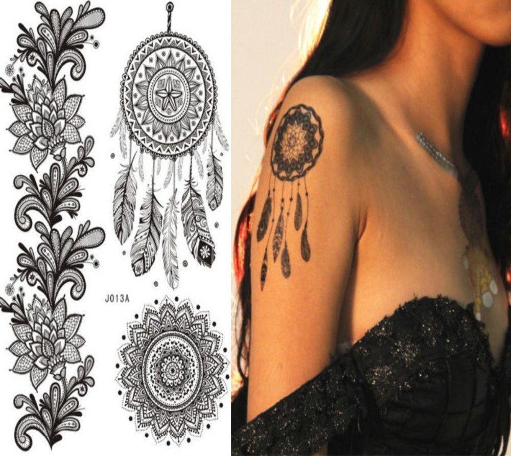 Light uv tattoos henna tattoo for - Mandala Black Tattoo Body Art Stickers Removable Waterproof Temporary Black Tattoo Look Real Dreamcatcher Tattoos Temporary Tattoo In Black Ink Are Perfect