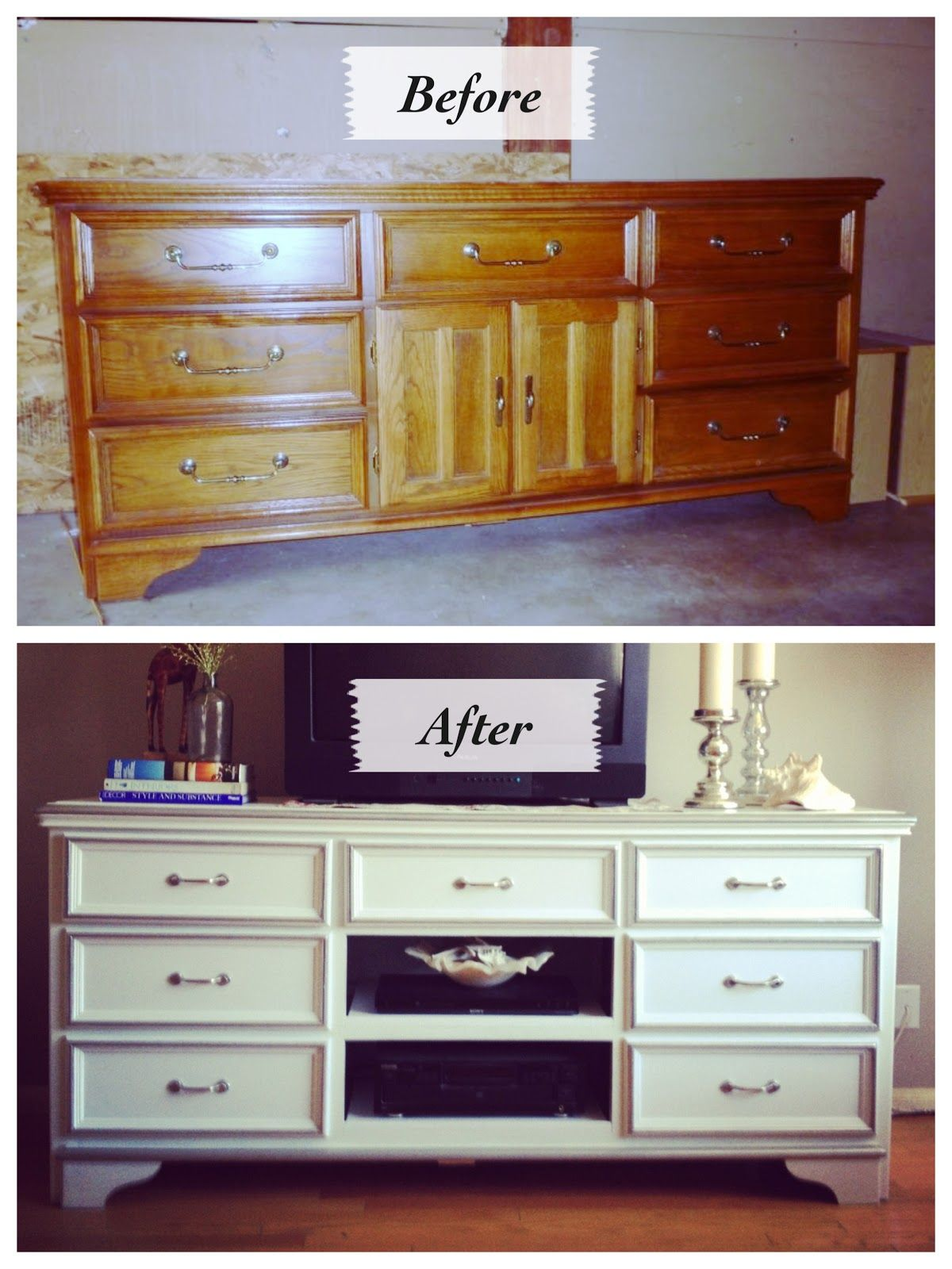 before and after entertainment console refinish DIY