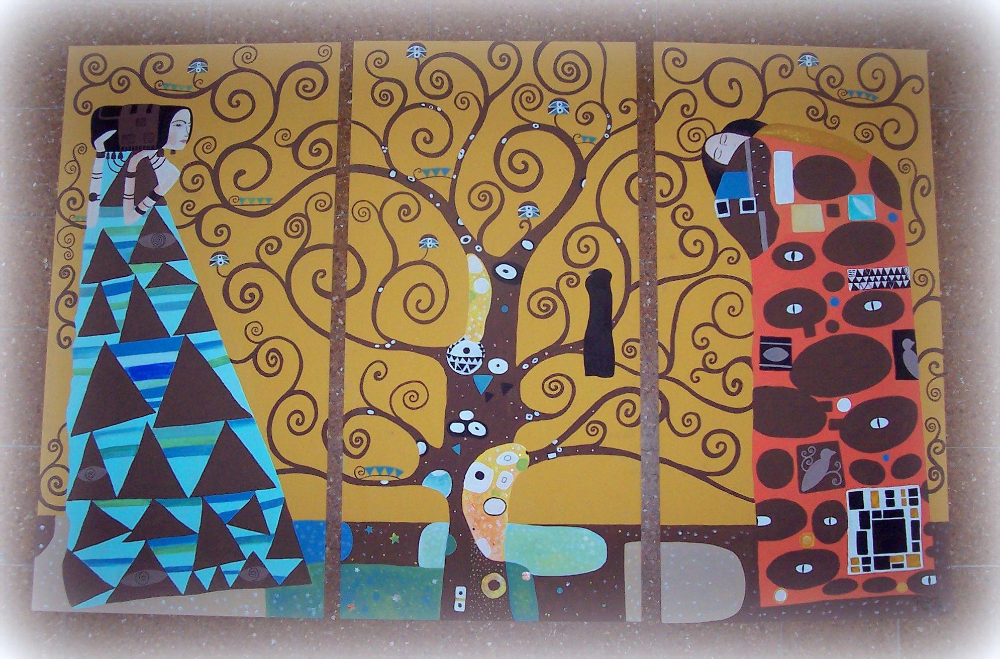 El árbol de la vida, Klimt Triptico en fibrofacil 150x100cm. Pintame Gisela