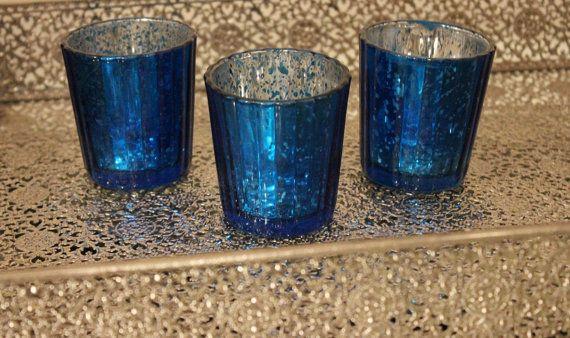 Set Of 10 Mercury Gl Blue Cobalt Navy Dark Speckled Candle Holders Votive Holder Candleholder Tea Light Vase Vintage Wedding
