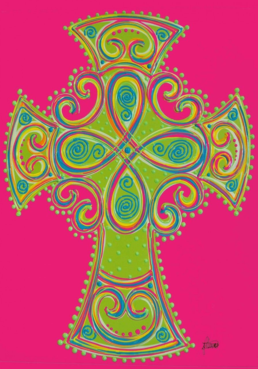 IAmEricas Flags - Hot Pink and Lime Green Celtic Cross House Flag ...