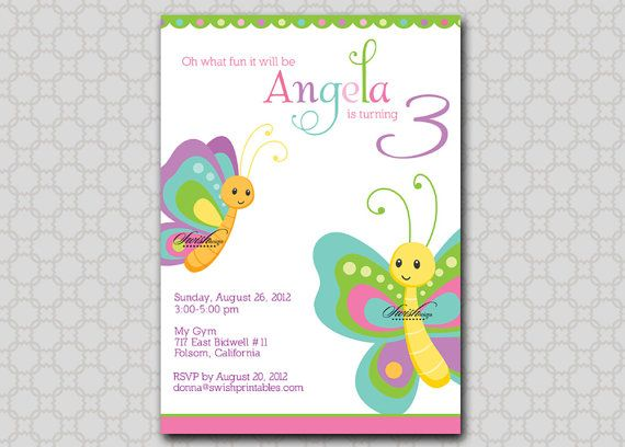 Butterfly Birthday Party Invitation butterflies by SwishDesigns – Butterfly Party Invitation