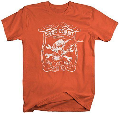 East Coast Motors >> Men S East Coast Motors Biker T Shirt Skull Wrench Shirt