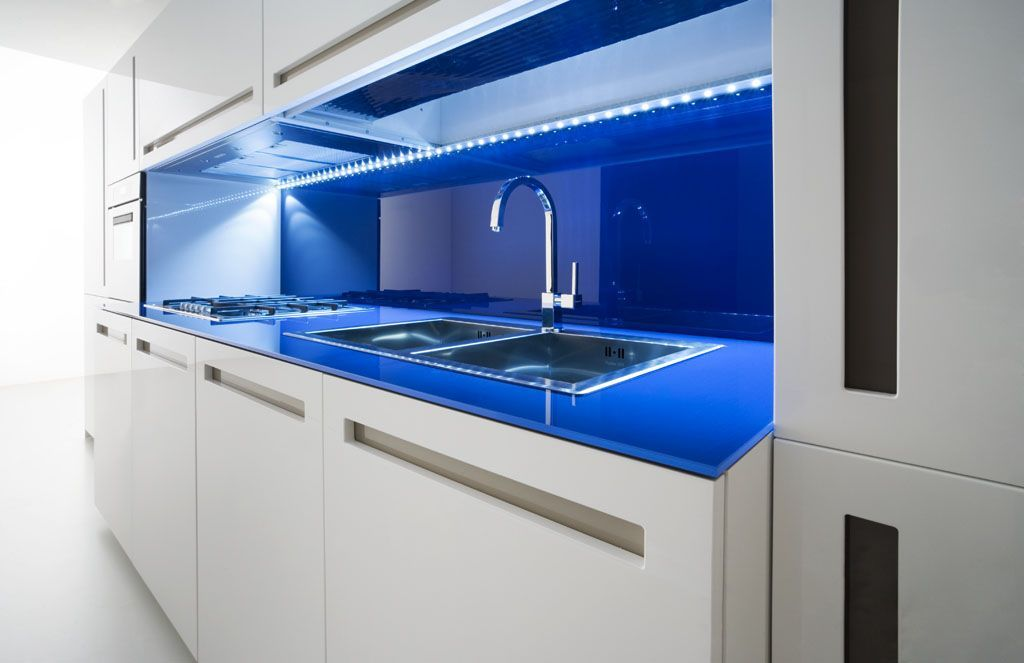 Modern Kitchen With Blue LED Lighting