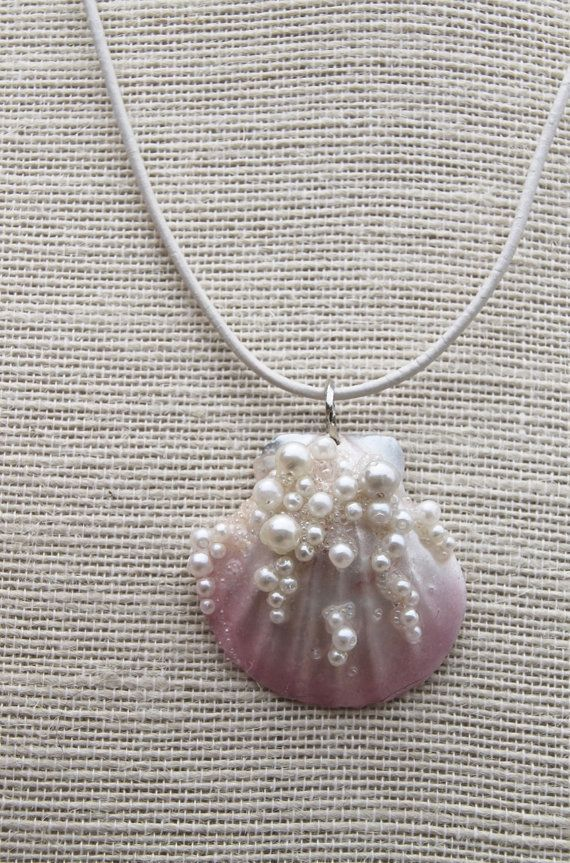 Photo of Beautiful mermaid pendant. Real shell, airbrush in delicate pink and pearl …