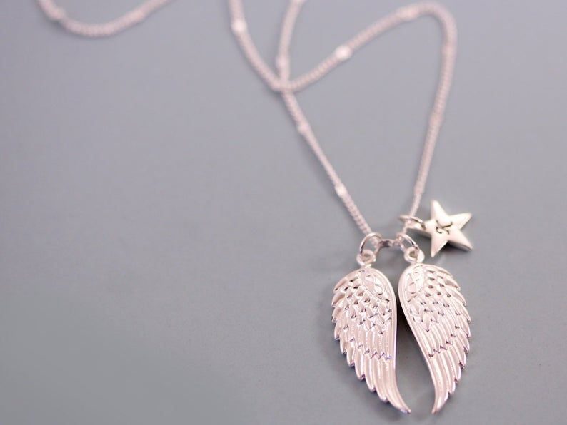 Guardian angel family necklace angel wing necklace etsy