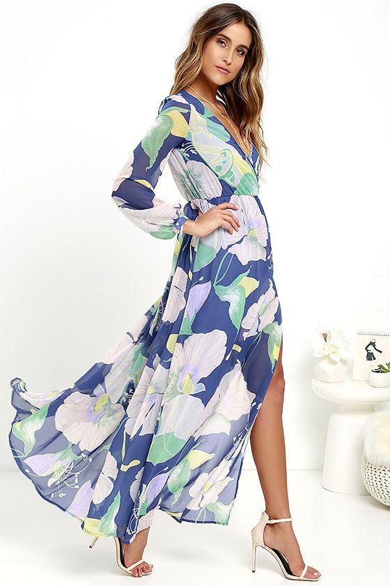eda4a2073d6ed Wondrous Water Lillies Denim Blue Floral Print Maxi Dress at Lulus.com!