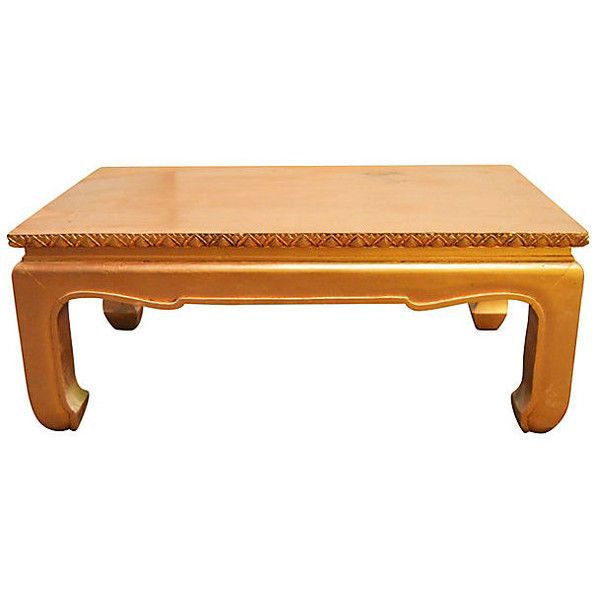 Pre-Owned Low Kang Coffee Table ($1,199) ❤ liked on Polyvore featuring home, furniture, tables, accent tables, hand carved table, gold accent table, gold cocktail table, hand carved furniture and gold table