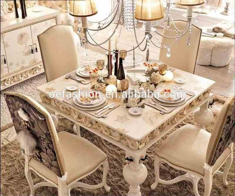 French Romantic Style White Solid Wood Carving 4 Seater Square