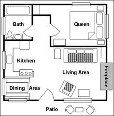 one bedroom cabin floor plan