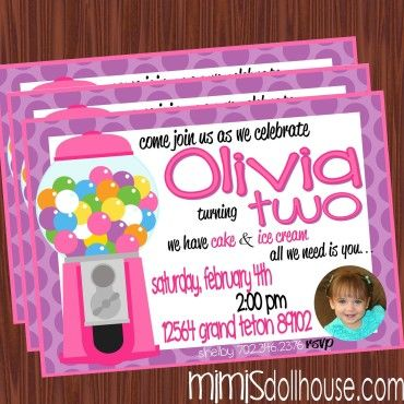 http://mimisdollhouse.com/product/bubble-gum-invitation-pink/  Bubble Gum Invitation  The Bubble Gum invitation is personalized to include Name, Age, Date, Time, Location, and RSVP and photo (optional).  The Bubble Gum invitation is available in printable JPED and PDF formats.  A coordinating decorations package is available for this theme: http://mimisdollhouse.com/product/bubble-gum-party-printable-collection-pink/  #BubbleGumInvitation