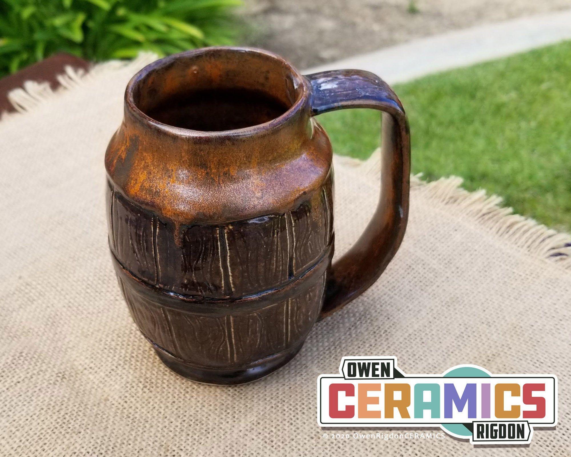Barrel Beer Coffee Mug 4.75 with Handle Rustic Carved