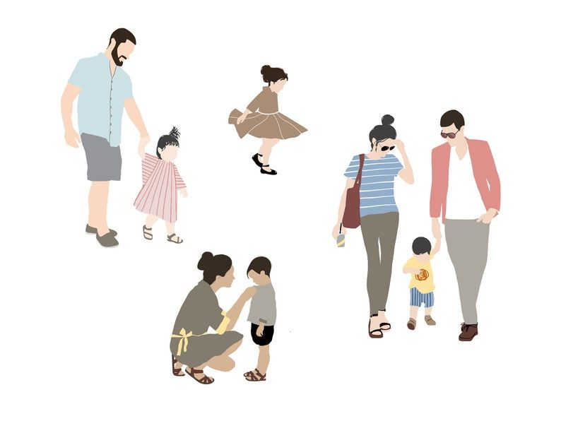 Flat Vector People Pack Family Outdoor Clipart Ai Eps Png Human Person Man Woman Children Illustration Cutout For Visualization People Illustration Vector Illustration People Children Illustration