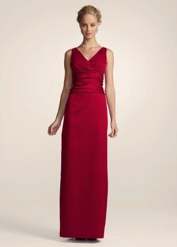 8487f15fa8 David s Bridal Bridesmaid Dresses Sleeveless Satin V-Neck Dress with Slim  Skirt Style 81047