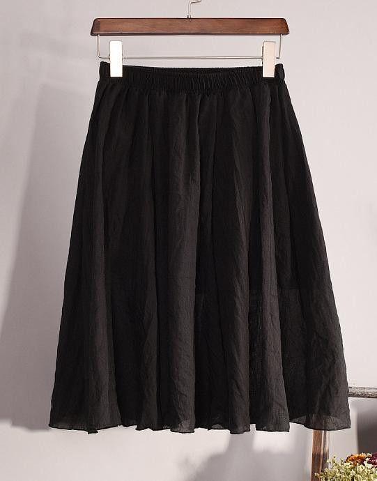 New Fashion Womens Vintage 11 Color Linen High-Waist Pleated Midi Skirts Elegant Ladies Slim Elastic Waist Skirt Saias SK06