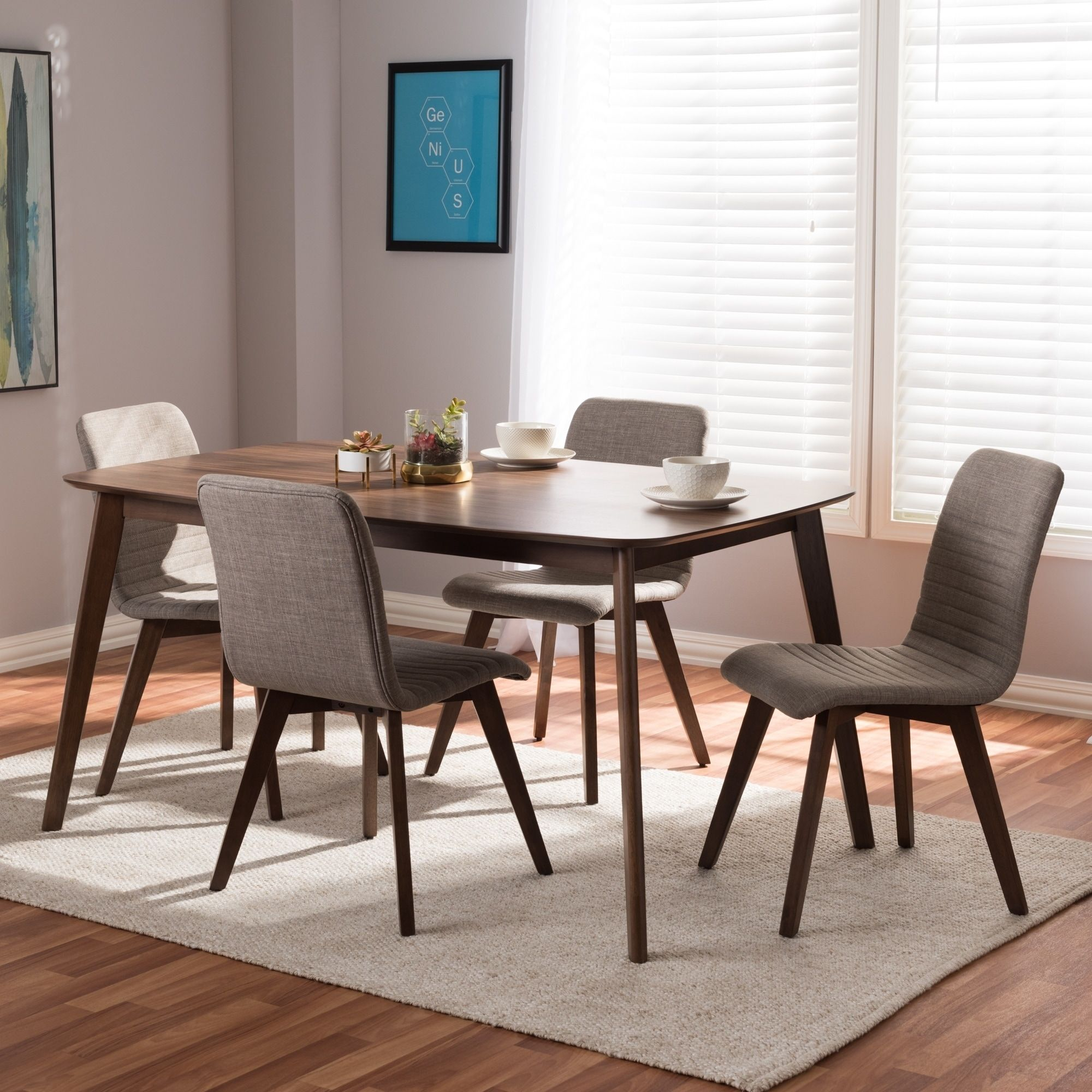 Mid Century Fabric Upholstered 5 Piece Dining Set By Baxton