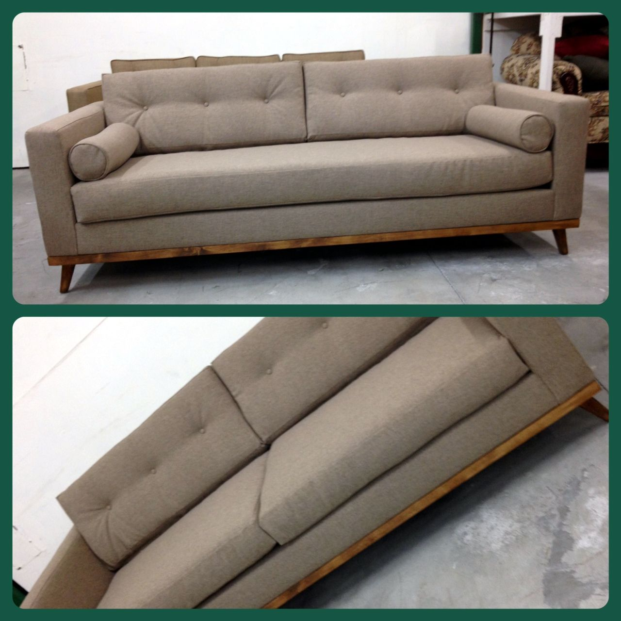 MidCentury Modern Sofa with Bolster Pillows and Danish Frame