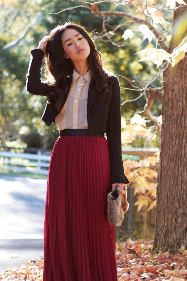 a221b38f4 Burgundy Maxi Skirts, Maxi Skirt Outfits, Modest Outfits, Modest Dresses, Modest  Fashion