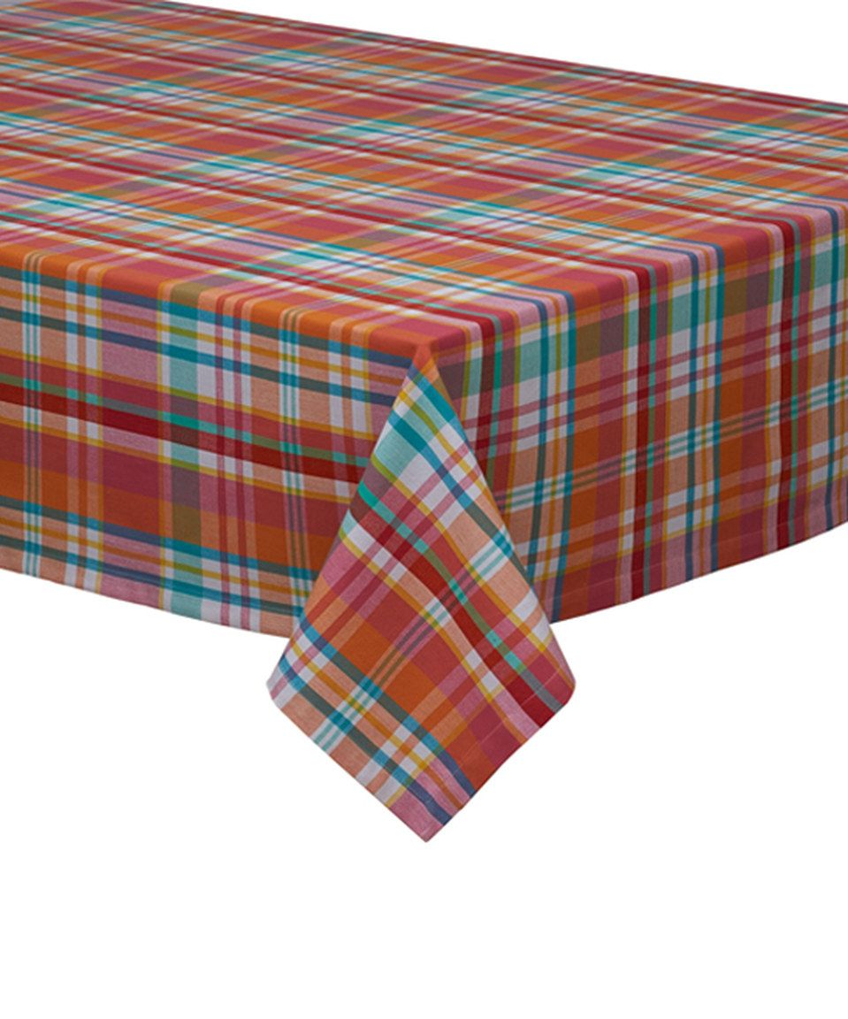 This Teal U0026 Orange Plaid Tablecloth By Design Imports Is Perfect!  #zulilyfinds