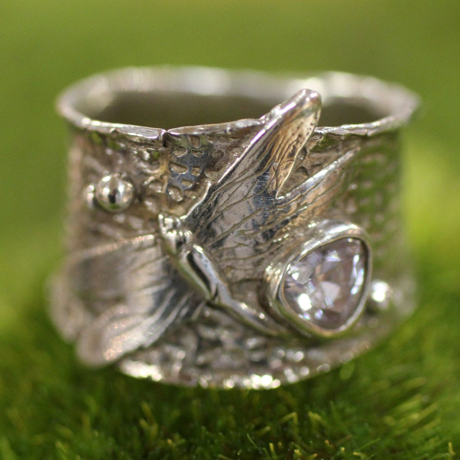 Dragonfly ring in sterling silver, wide band, with