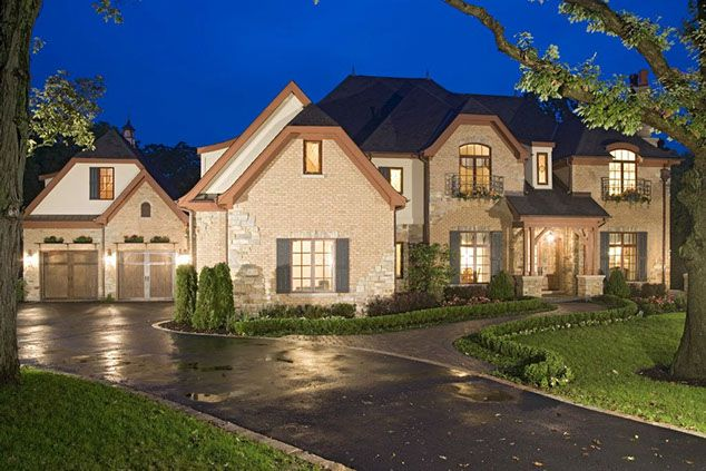 Home Exteriors French Country Style Custom Home 4 Car Garage