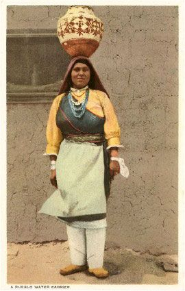 Hopi Woman carrying a pot. Pottery of the Pueblo Indians. | Native ...