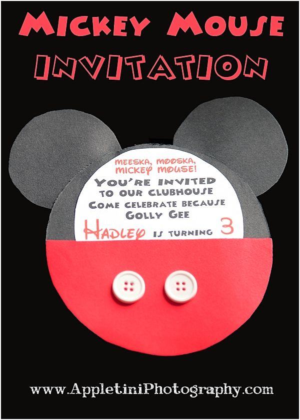Adorable Mickey Mouse Invitation! Sweet idea for anyone throwing a ...