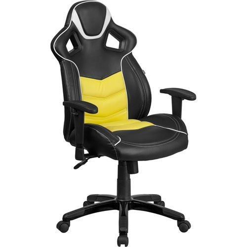 High Back Canary Yellow Vinyl Executive Swivel Office Chair with Inner-Coil Spring Comfort Seat and Black Base
