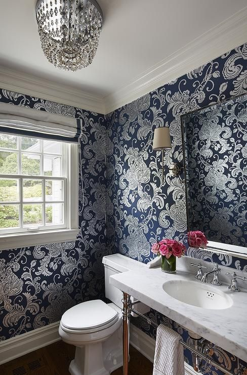 Anna French Verey Wallpaper in Navy Bathroom wallpaper
