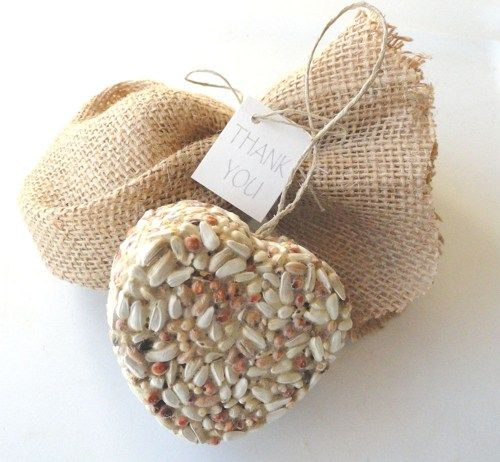 Set Of 10 Country Garden Flower Seed Wedding Favours With: Bird Seed Hearts Burlap Bags