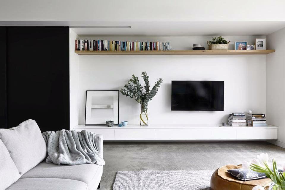 Living Room Wall Shelves: Long Shelf Across Top Of Wall