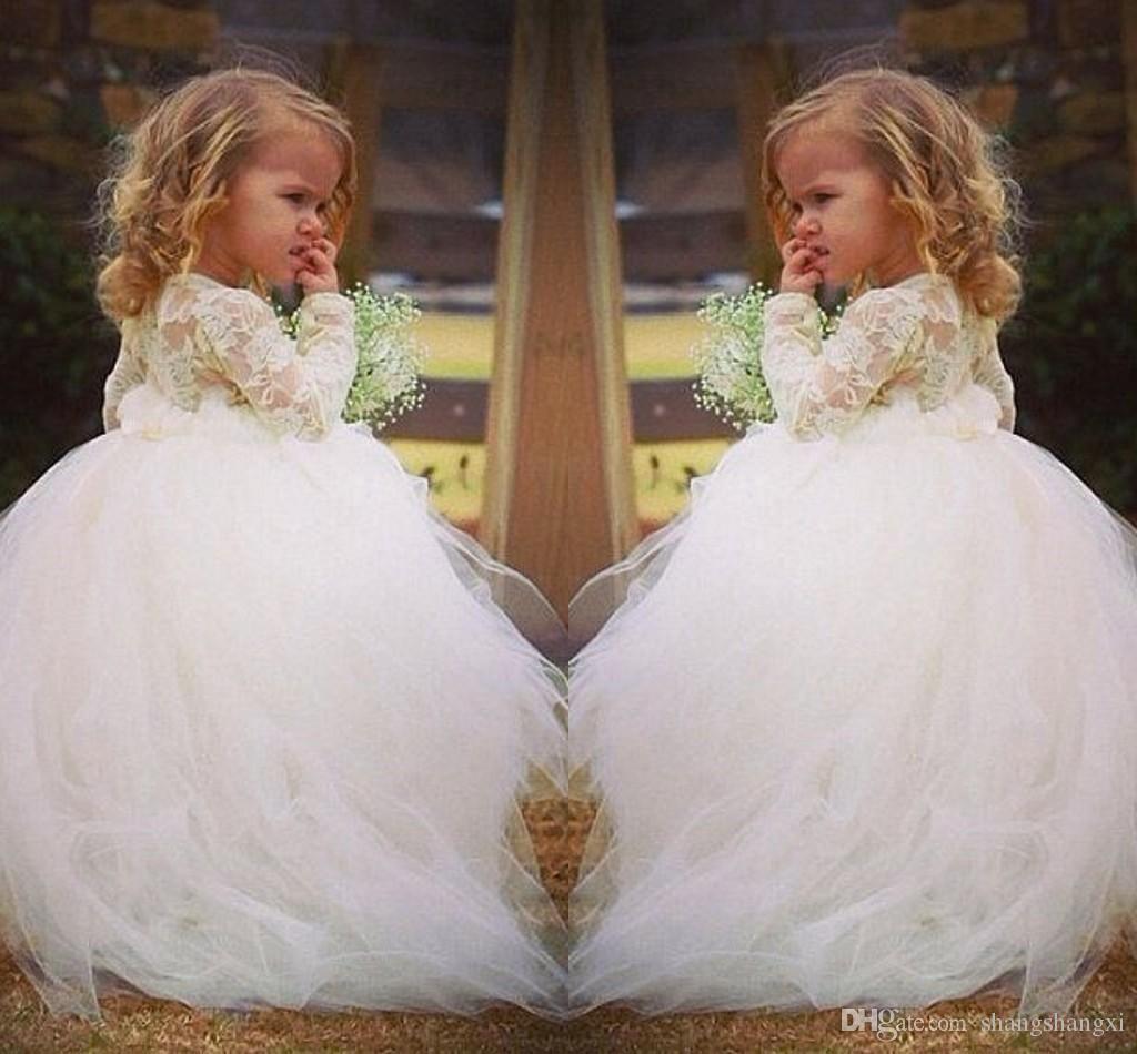 90506e197 Vintage Lace Flower Girl Dresses Long Sleeves Princess Jewel Lace ...