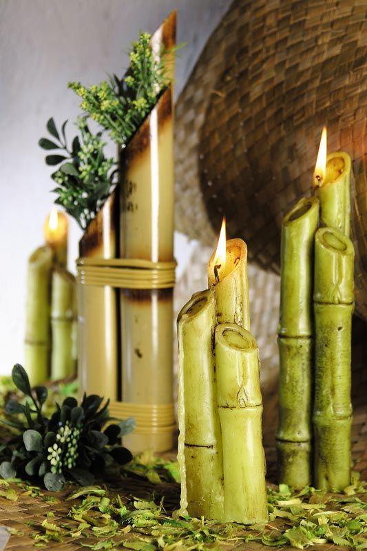 Bamboo Candles --Candles-- Pinterest Velas, Bambú y Velas - decoracion con bambu