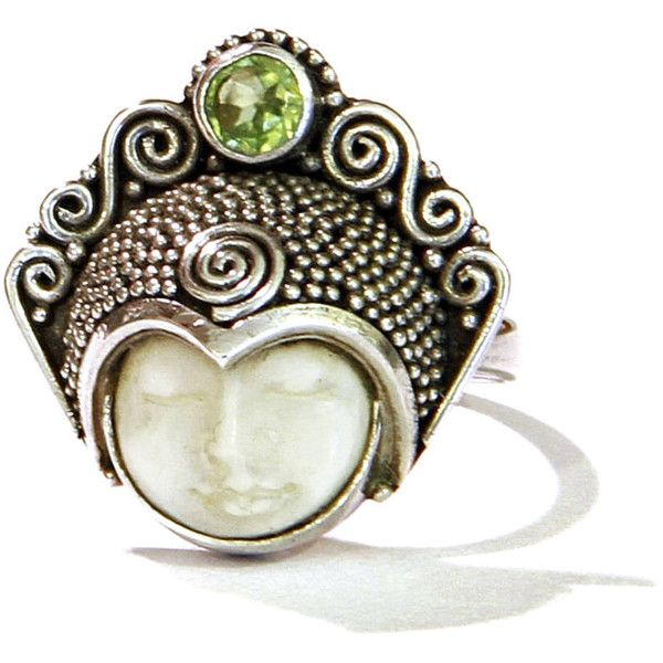 Carved Bone Face Ring 925 Sterling Silver Green Peridot Stone 57 Liked On Polyvore Featuring Je Heart Shaped Rings Green Peridot Rings Peridot Stone