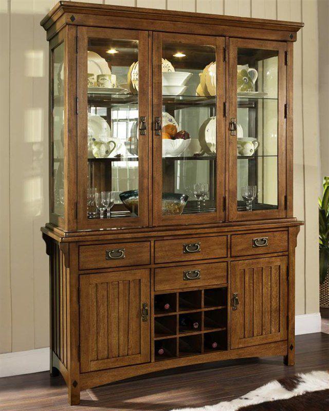 Somerton Home 2 piece Craftsman Hutch Buffet Table, Medium Brown ...