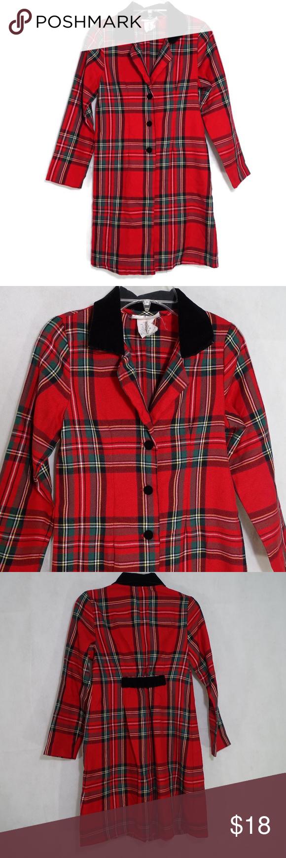 ce44fa8db71b Bonnie Jean Coat Dress Girls Size 10 ITEM DESCRIPTION: Bonnie Jean  Christmas Plaid Coat Dress