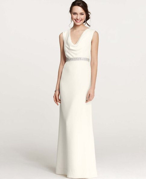Ann Taylor S Wedding Collection Perfect Dresses For Your Second Wedding Cowl Neck Wedding Dress Sparkle Wedding Dress Second Wedding Dresses