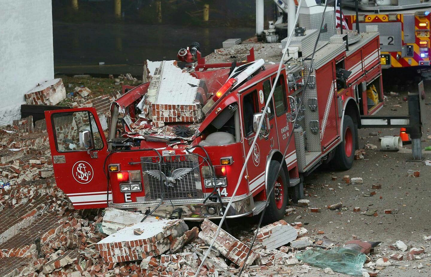 Ouch Cause Of A Building Collapse Fire Trucks Rescue Vehicles