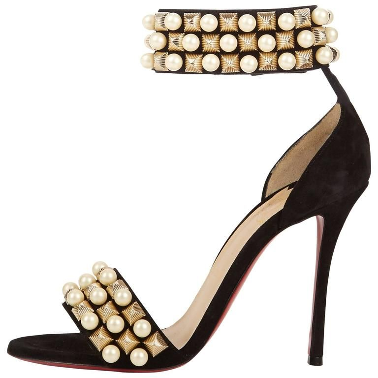 932f3defd910 Christian Louboutin New Black Suede Gold Pearl Sandals Evening Heels in Box  1