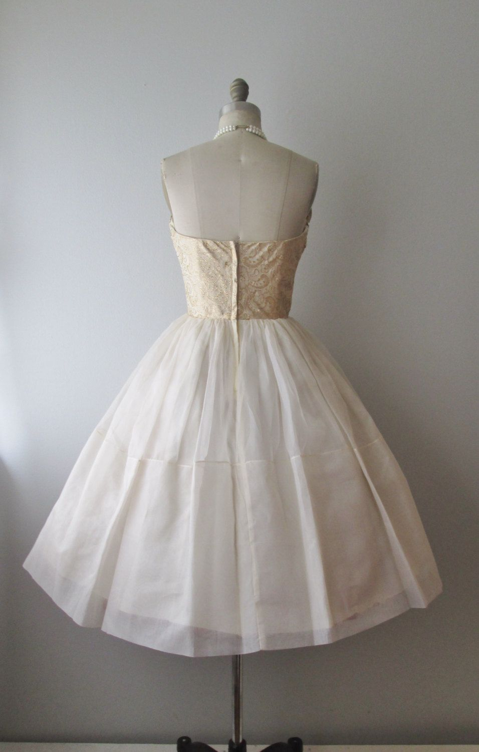 Wedding dresses fifties style  us Wedding Dress  Vintage us Beaded Gold White Organza