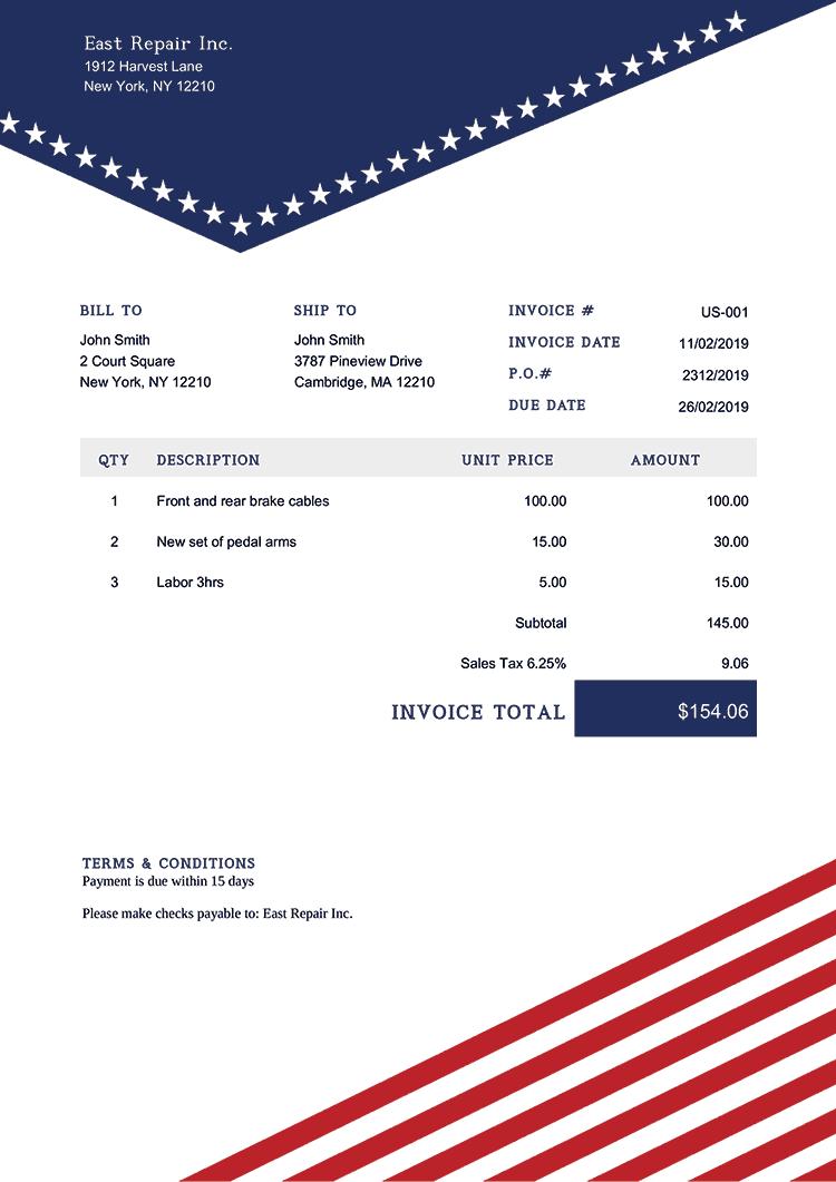 Invoice Template Us Us Liberty Invoice Template Receipt Template Quote Estimate