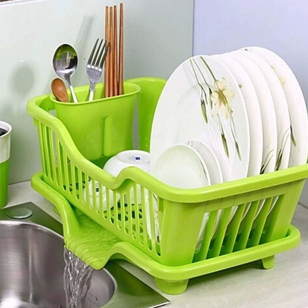 Kitchen Abs Plastic Sink Dish Drainer Drying Rack Washing Basket