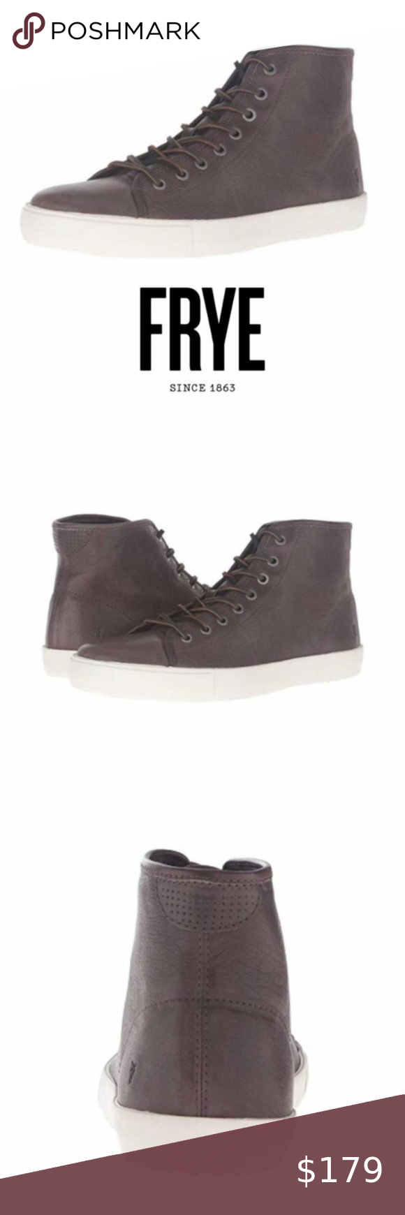 Frye Mens High Top Gray Leather Sneakers Sz 8 NIB